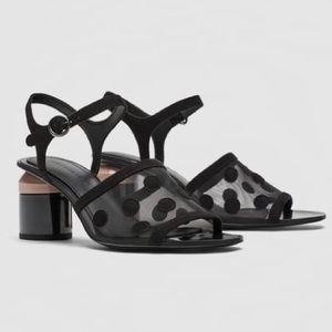 ZARA Mid-heel dotted mesh sandals